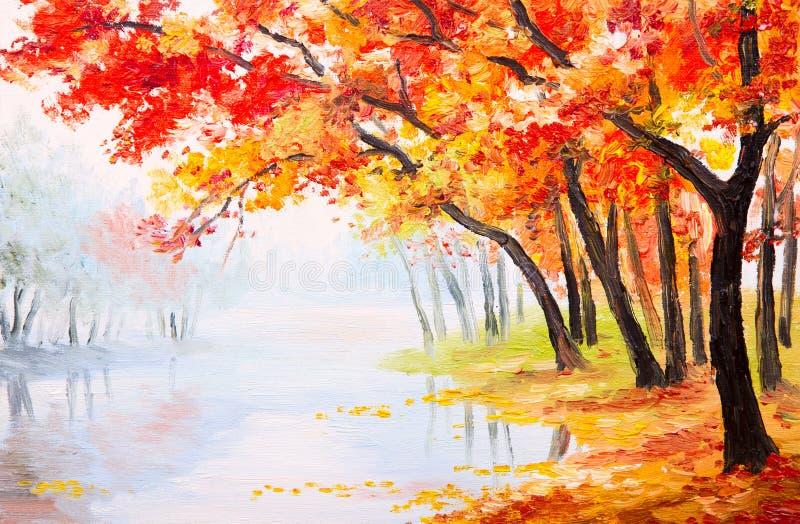 Paisagem da pintura a óleo - floresta do outono perto do lago ilustração do vetor
