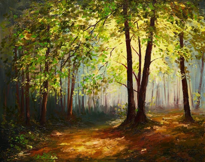 Paisagem da pintura a óleo - floresta do verão, arte abstrato colorida ilustração stock
