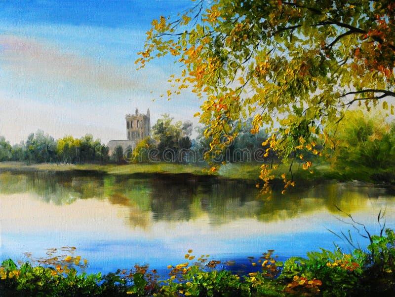 Paisagem da pintura a óleo - fortifique perto do lago, árvore sobre a água imagem de stock royalty free