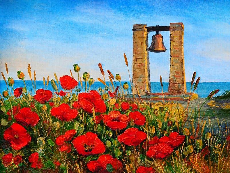 Paisagem da pintura a óleo - papoilas perto do mar, sino no por do sol ilustração stock