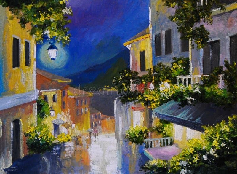 Paisagem da pintura a óleo - rua perto do mar, cidade da noite, lanterna ilustração do vetor