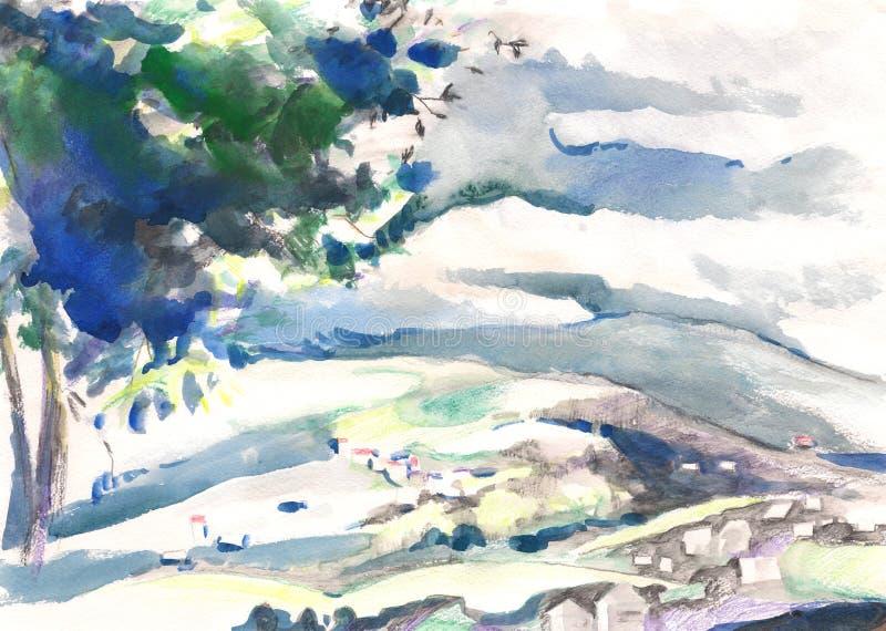 Paisagem da pintura da aquarela ilustração stock