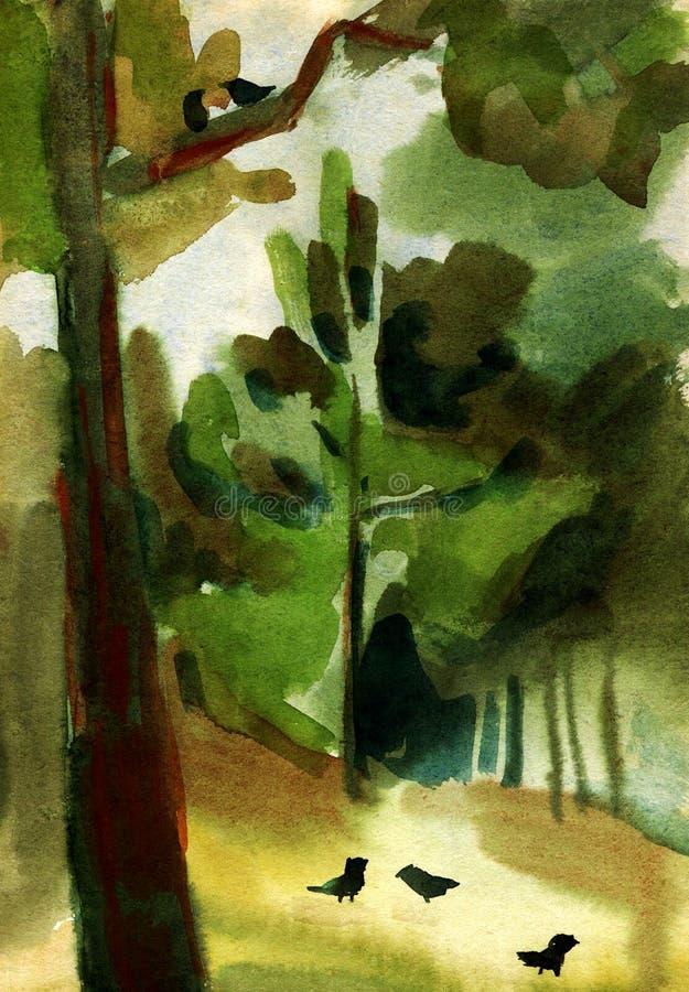 Paisagem da pintura da aquarela ilustração do vetor