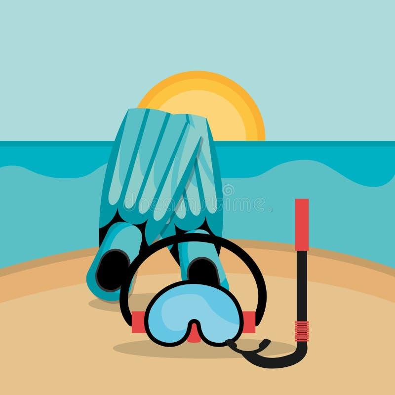 Paisagem da praia com tubo de respiração e aletas ilustração do vetor
