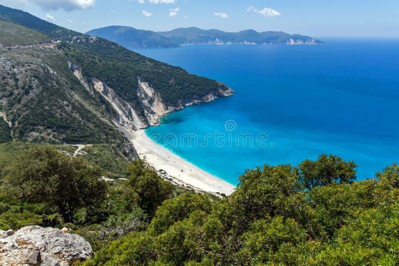 Paisagem da praia de Myrtos, Kefalonia, ilhas Ionian, Grécia imagens de stock