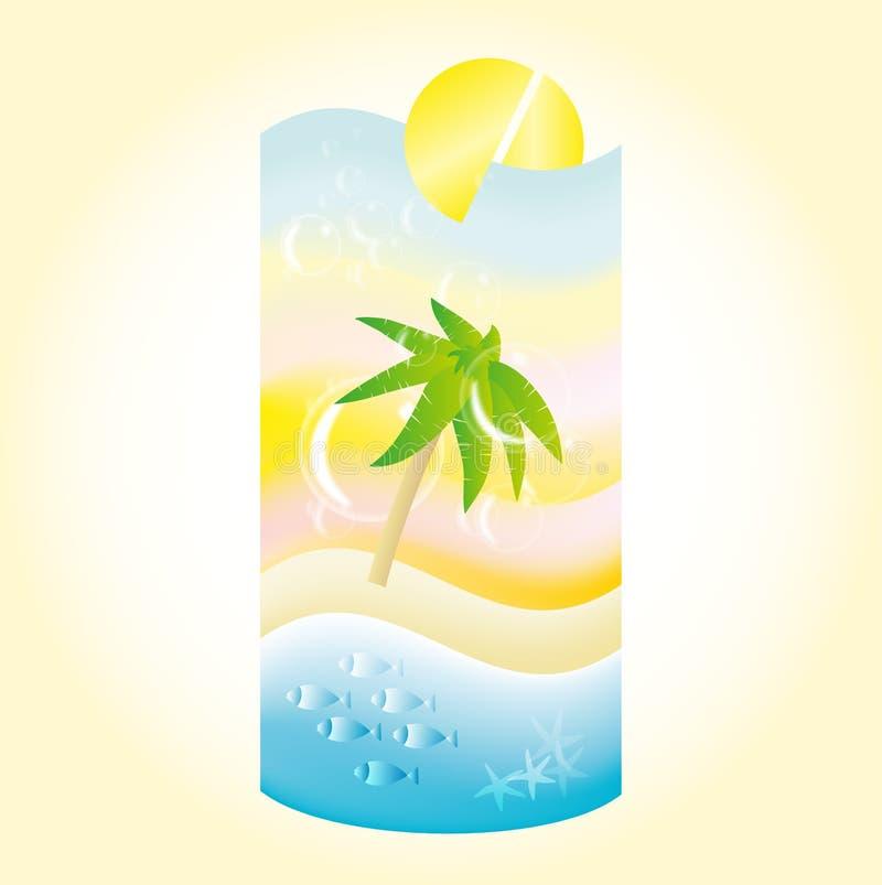 Paisagem da praia do feriado em uma forma de um cocktail imagens de stock