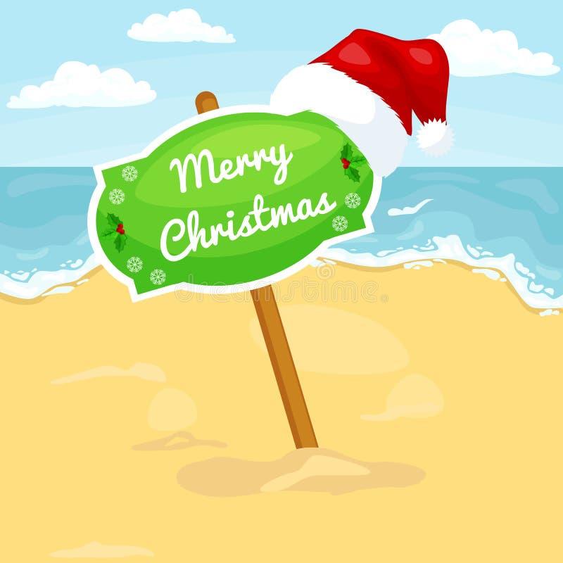 Paisagem da praia dos desenhos animados com Feliz Natal do sinal ilustração stock