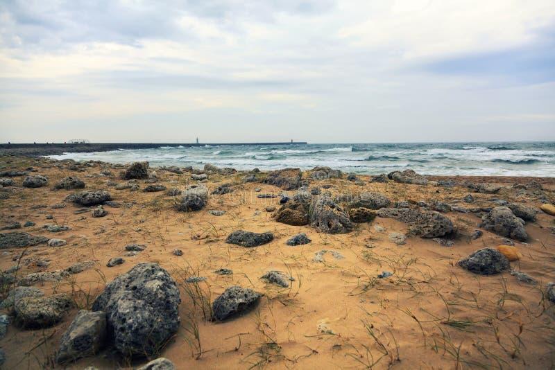Paisagem da praia nos protetores sul imagem de stock