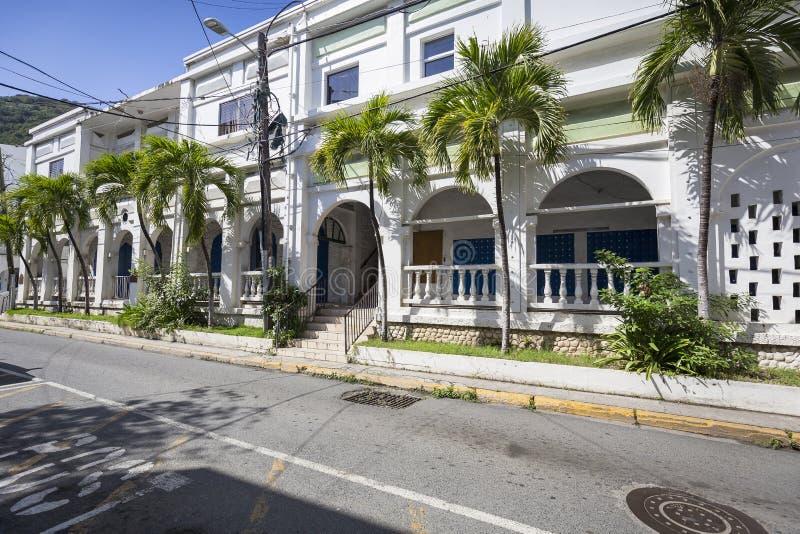 Paisagem da rua da cidade da estrada de cidade em Tortola imagens de stock