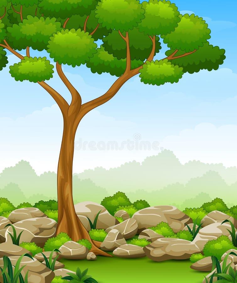 Paisagem da selva com árvore e pedra ilustração stock