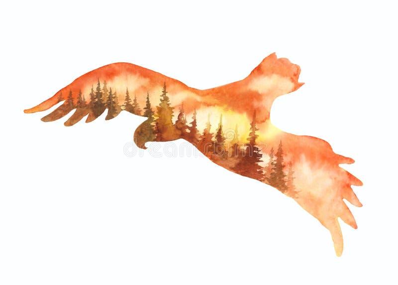 Paisagem da silhueta da ilustração da águia de Watrcolor isolada no fundo branco ilustração royalty free