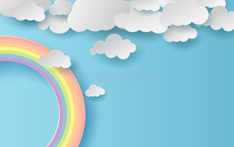 paisagem da temporada de verão da ilustração 3D com um arco-íris no fundo do céu azul Cloudscape na arte de papel limpa e mínima  ilustração royalty free