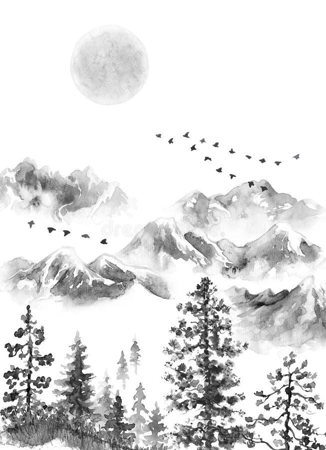 Paisagem da tinta com montanhas, lua e abeto ilustração royalty free
