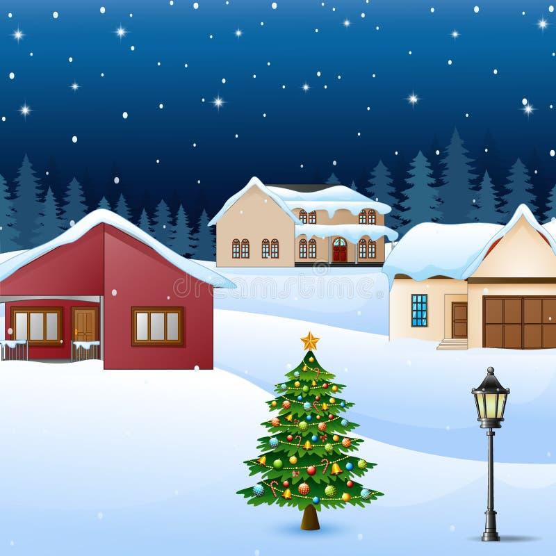 Paisagem da vila do inverno da noite com a árvore coberto de neve da casa e de Natal ilustração do vetor