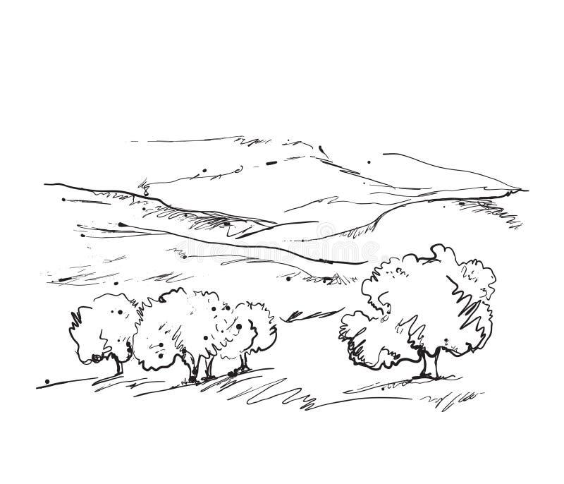 Paisagem das garatujas com campos e árvores ilustração do vetor