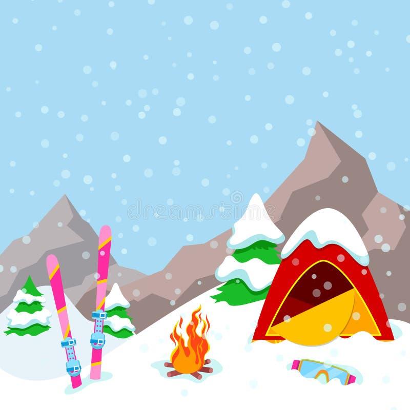 Paisagem das montanhas do acampamento do inverno com barraca, chaminé e equipamento do esqui ilustração stock