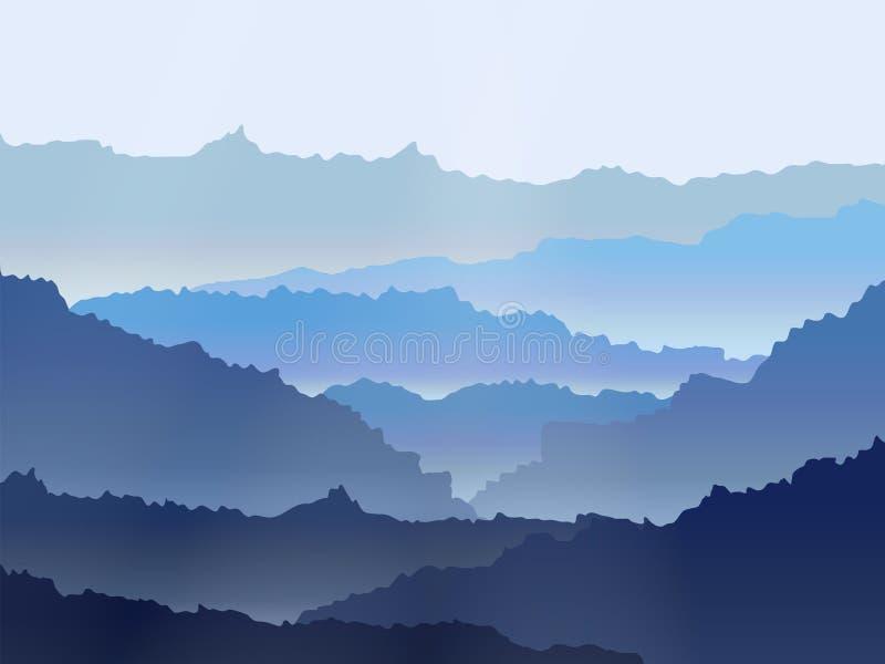 Paisagem das montanhas enevoadas da aquarela do vetor imagens de stock royalty free