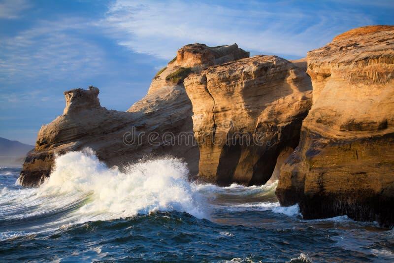 Paisagem das ondas de oceano - costa de Oregon fotos de stock royalty free