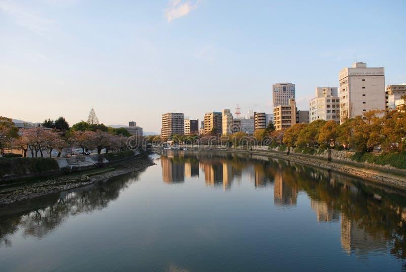 Paisagem das reflexões em Hiroshima, Japão imagem de stock royalty free