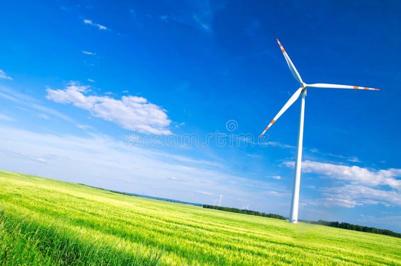 Paisagem das turbinas de vento imagens de stock royalty free