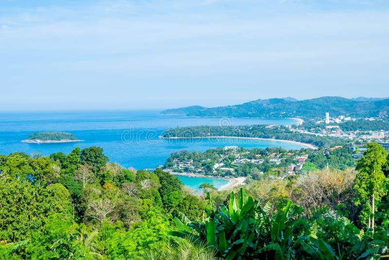 Paisagem de Andaman de Phuket Praia de Patong, praia de Karon, Kata Bea imagens de stock royalty free