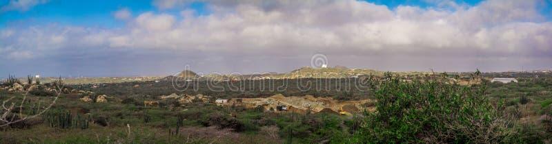Paisagem de Aruba da imagem do panorama imagens de stock