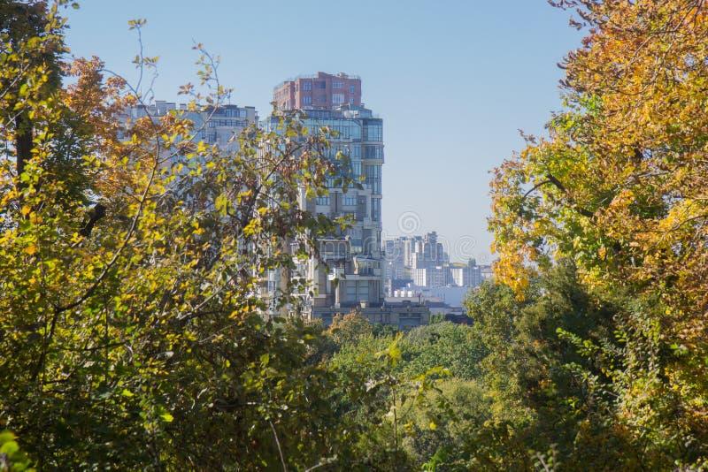 Paisagem de Autumn October árvores desiduous coloridas - opinião ensolarada do outono Jardim botânico da universidade acadêmico d fotografia de stock royalty free