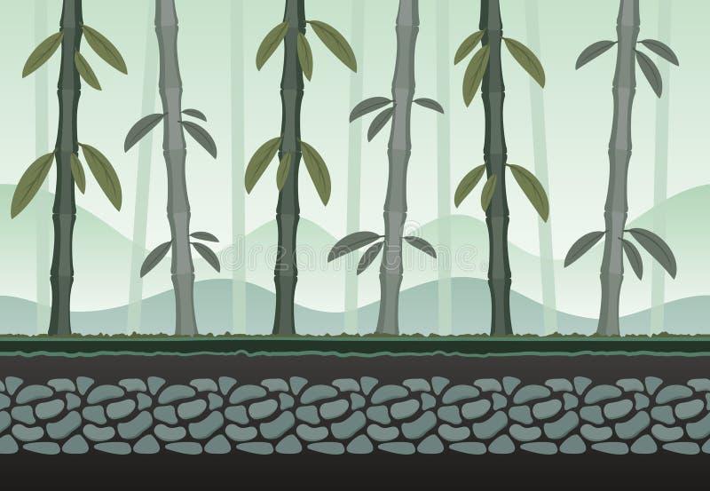 Paisagem de bambu sem emenda para o fundo do jogo ilustração do vetor