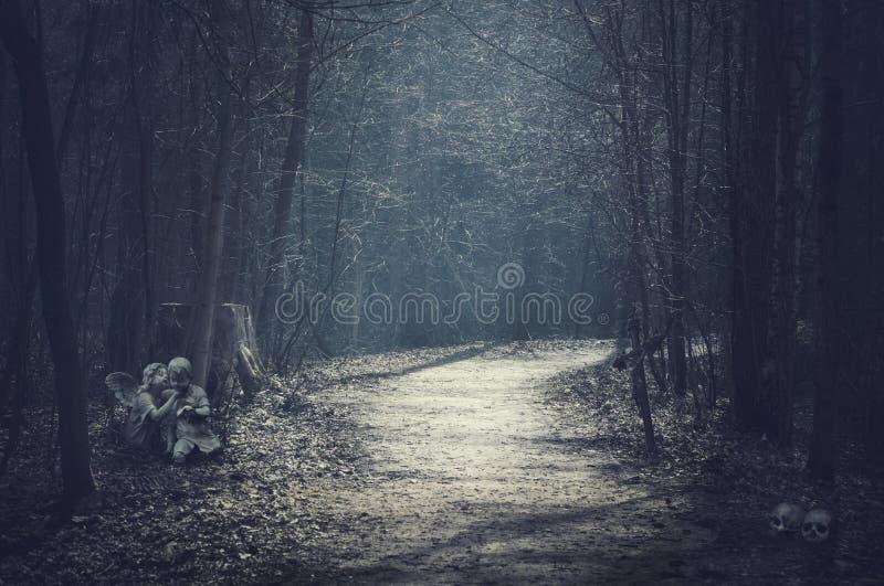 Paisagem de Dia das Bruxas Floresta escura com estrada vazia fotos de stock royalty free