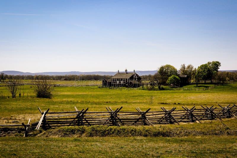 Paisagem de Gettysburg com casa da exploração agrícola foto de stock royalty free