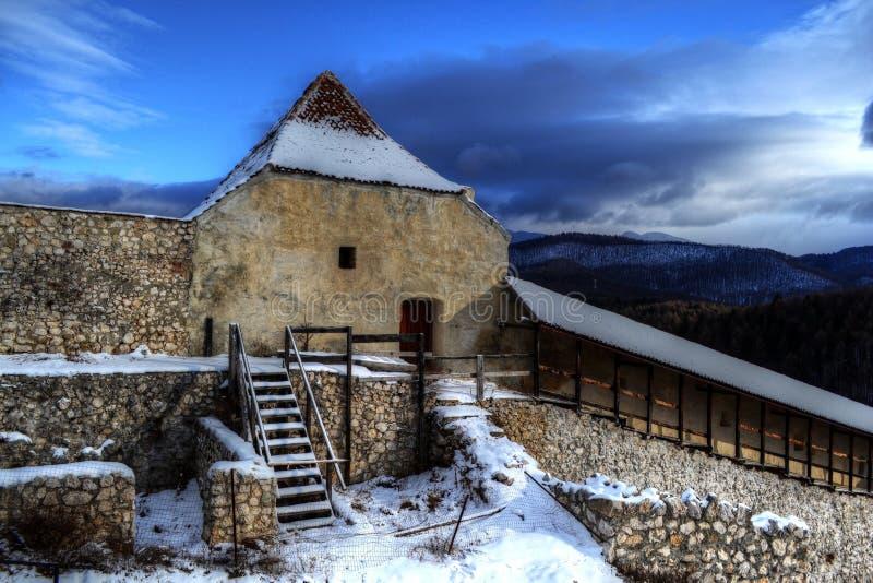 Paisagem de HDR da citadela de Rasnov fotografia de stock royalty free