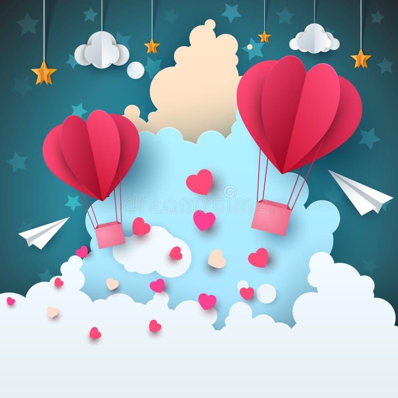 Paisagem de papel do ar dos desenhos animados Nuvem, avião, coração, amor, estrela ilustração stock
