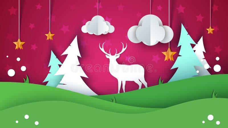 Paisagem de papel do verão dos desenhos animados Cervos, estrela, nuvem, abeto, monte, grama ilustração royalty free