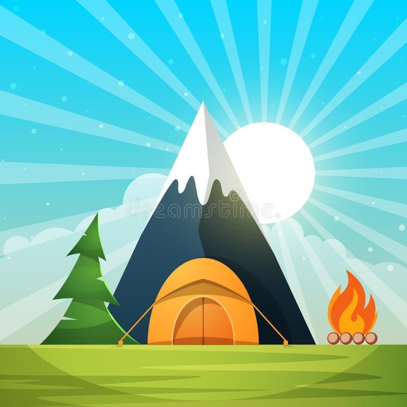 Paisagem de papel dos desenhos animados Árvore, montanha, fogo, barraca, lua, nuvem, ilustração da estrela ilustração stock