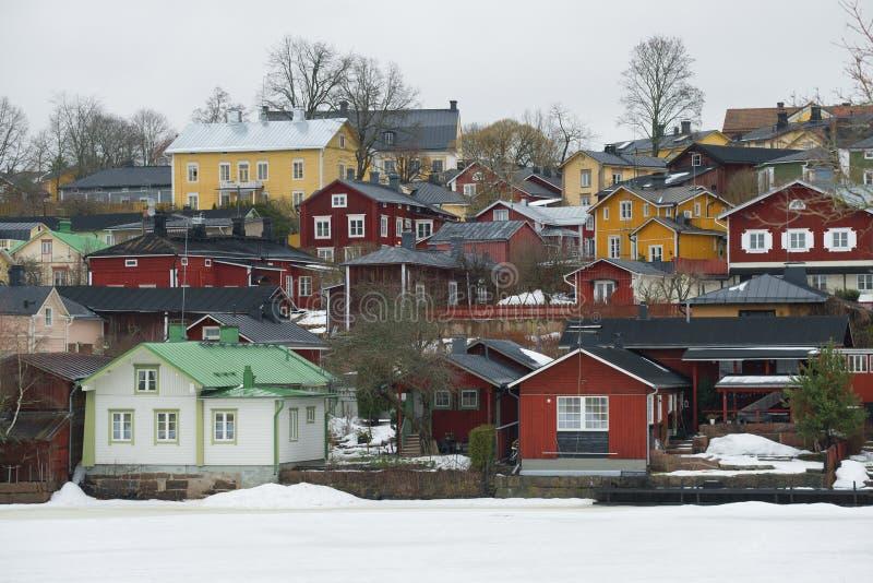 Paisagem de Porvoo, manhã nebulosa de março finland fotos de stock royalty free