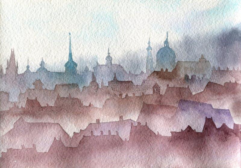 Paisagem de Praga da aquarela ilustração do vetor