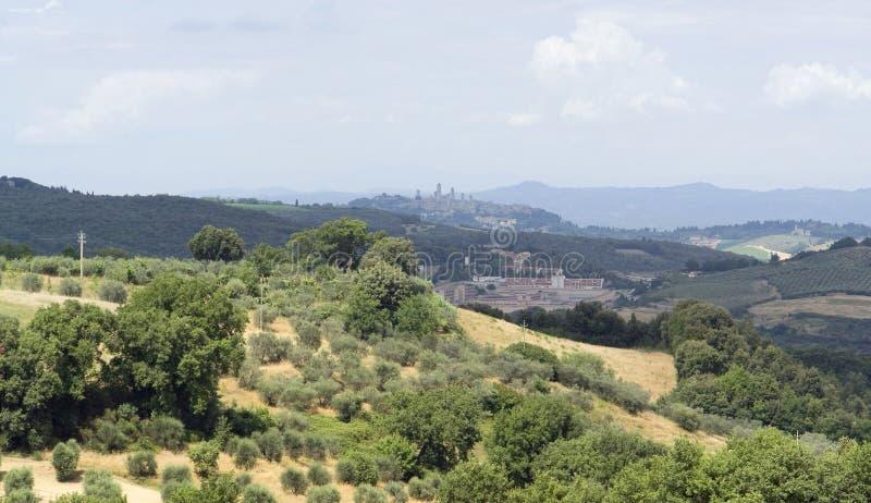 Paisagem de Toscânia perto de San Gimignano imagem de stock