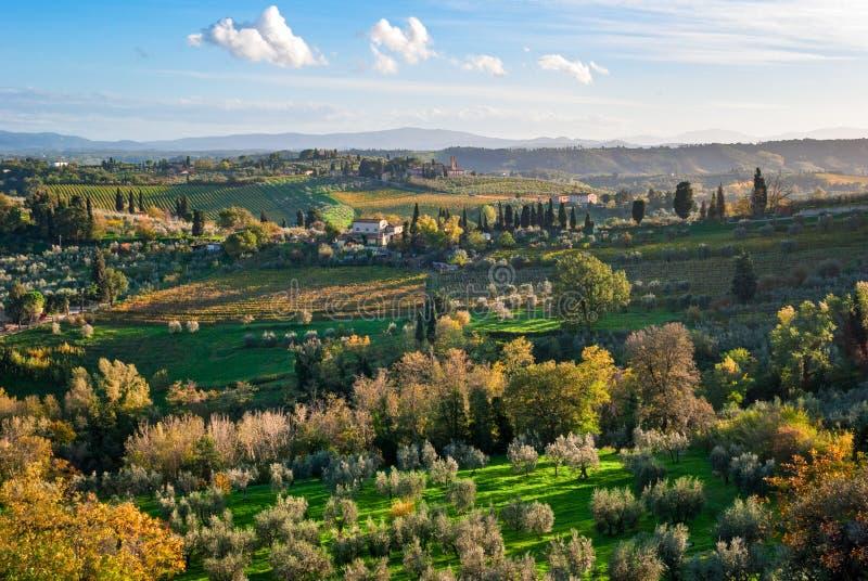 Paisagem de Toscânia perto de San Gimignano foto de stock