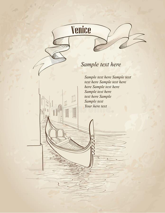 Paisagem de Veneza. Papel de parede de Itália do curso ilustração stock