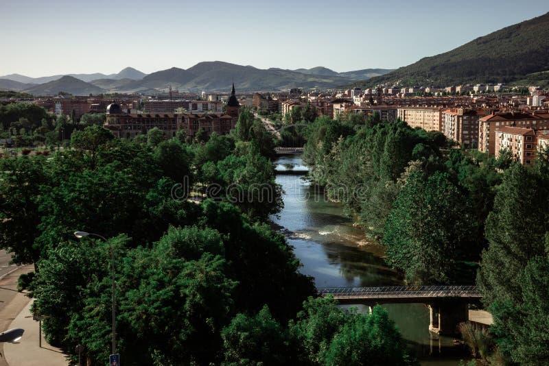 Paisagem digital da nova zona de Pamplona, Espanha imagens de stock