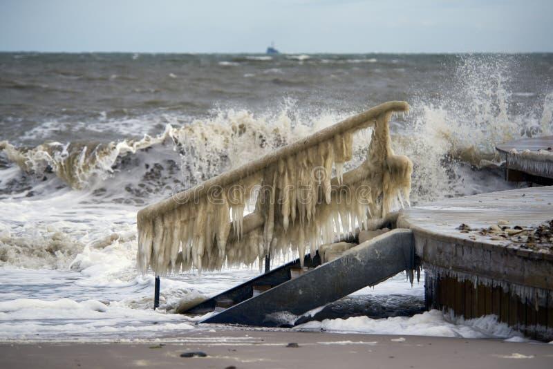 Paisagem dinamarquesa do inverno do litoral com ondas grandes fotos de stock