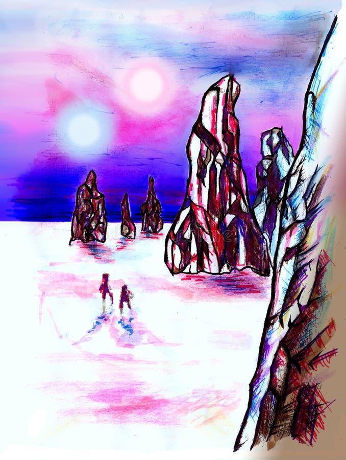 Paisagem distante do planeta ilustração royalty free