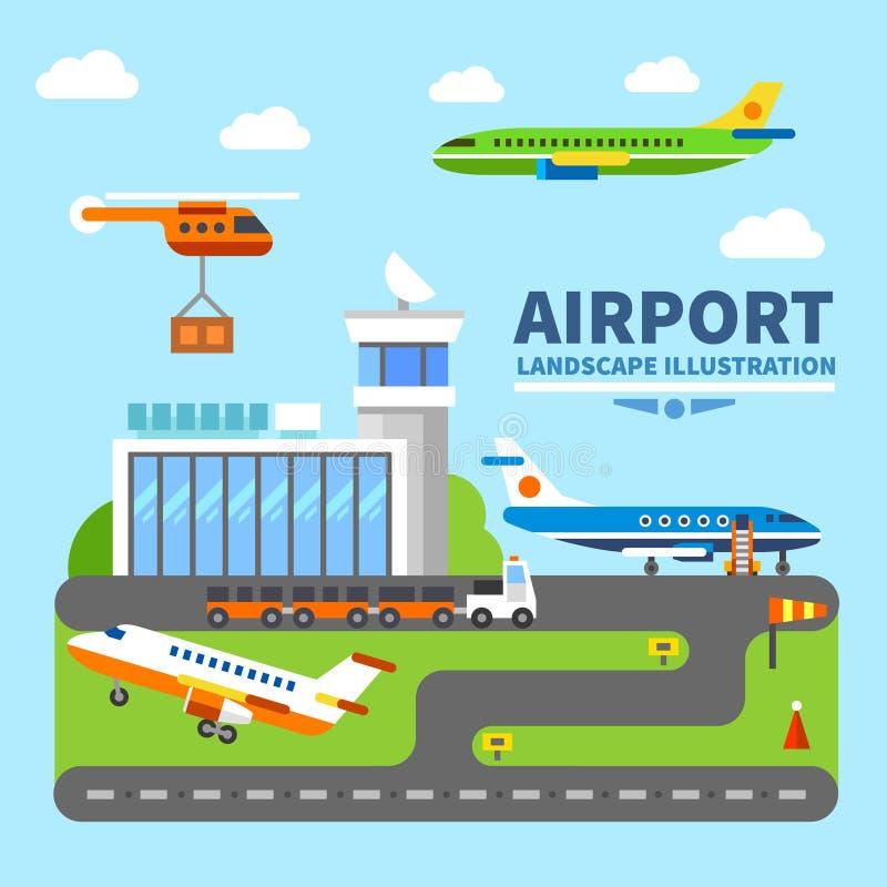 Paisagem do aeroporto ilustração do vetor