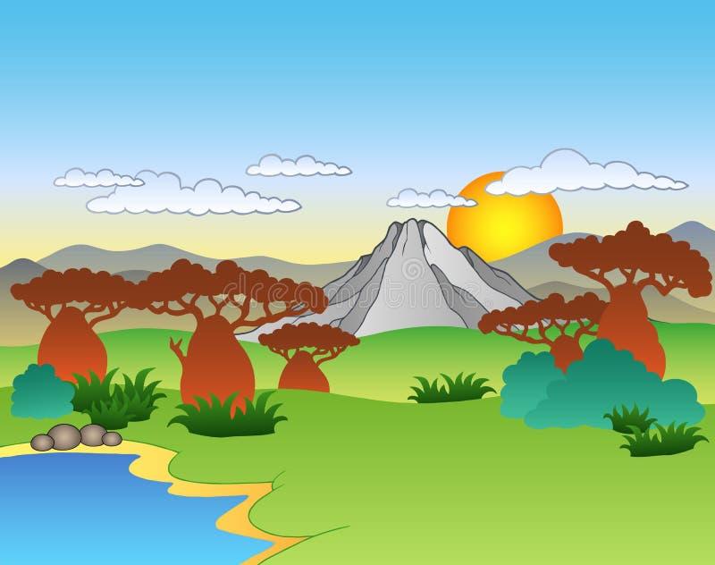 Paisagem do africano dos desenhos animados ilustração royalty free