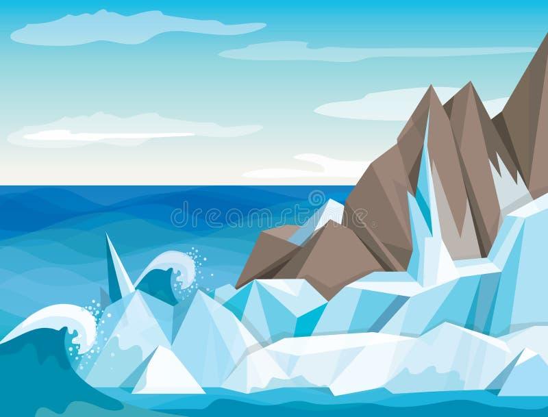Paisagem do Antarctic da ilustração do vetor ilustração royalty free