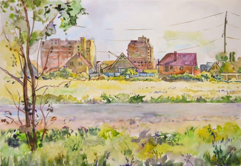 Paisagem do ar claro com as construções inacabados pintadas com aquarela fotos de stock