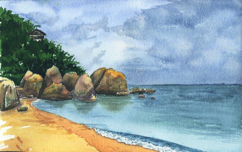 Paisagem do beira-mar com nuvens Samui ilustração stock
