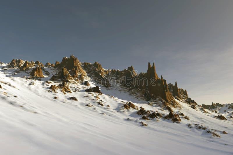 paisagem do céu azul da montanha da neve 3D ilustração stock