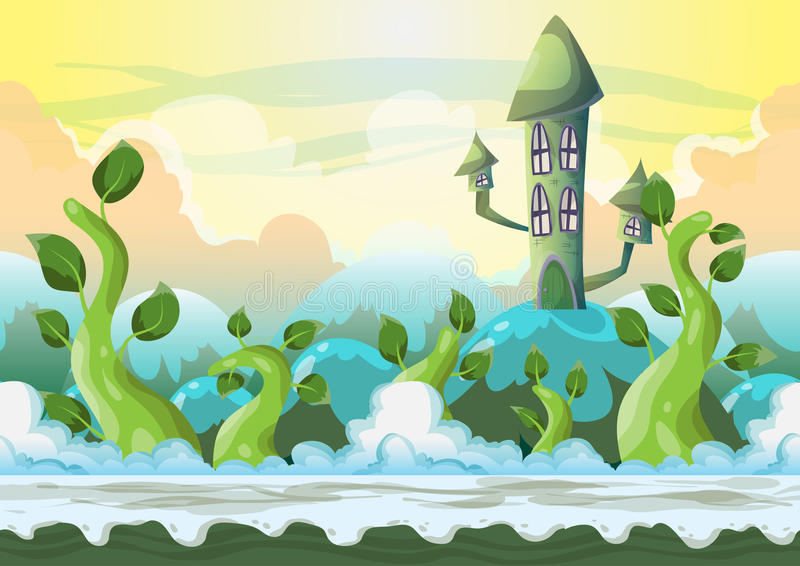 Paisagem do céu do vetor dos desenhos animados com camadas separadas ilustração stock