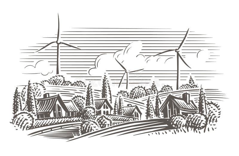 Paisagem do campo com as turbinas eólicas na ilustração do estilo da gravura do fundo Vetor ilustração royalty free
